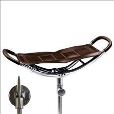 Assise extra-large. Canne de marche avec assise en cuir marron et manche noir