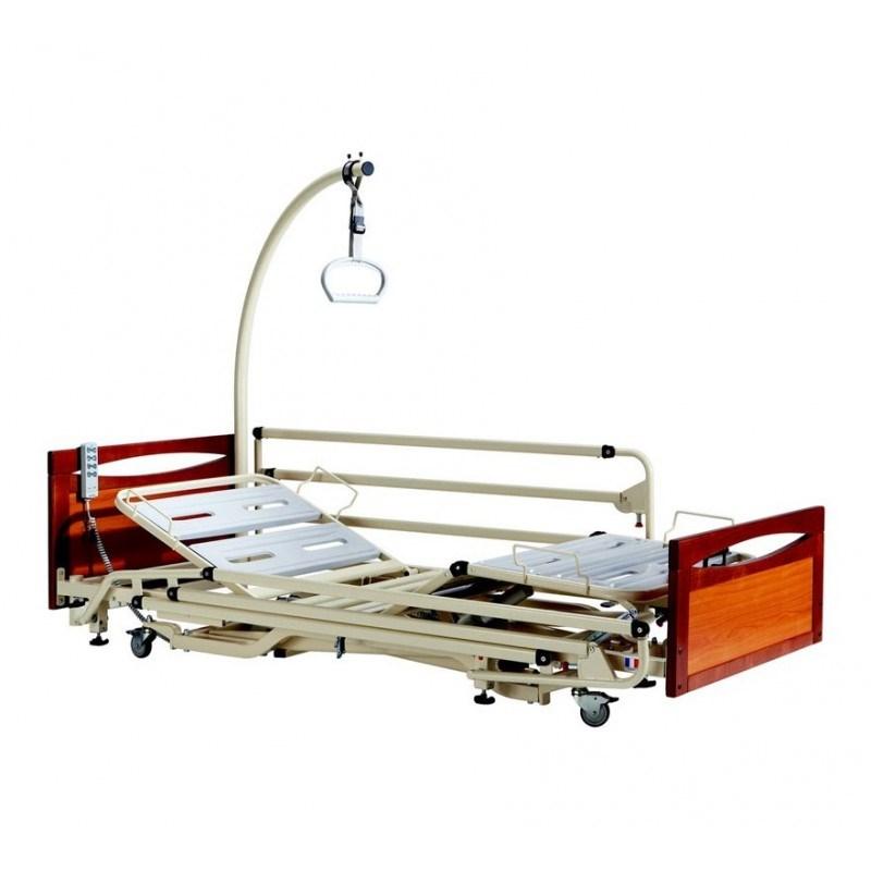 Lit Medicalise Ultra Bas Euro 3800 Panneaux Main Courante Merisier