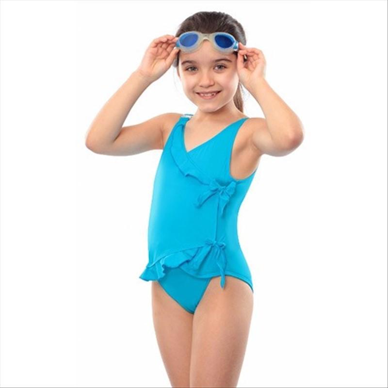 a7696dbec5 Maillot de bain incontinence pour fille avec rubans - Bleu, 5/6 ans